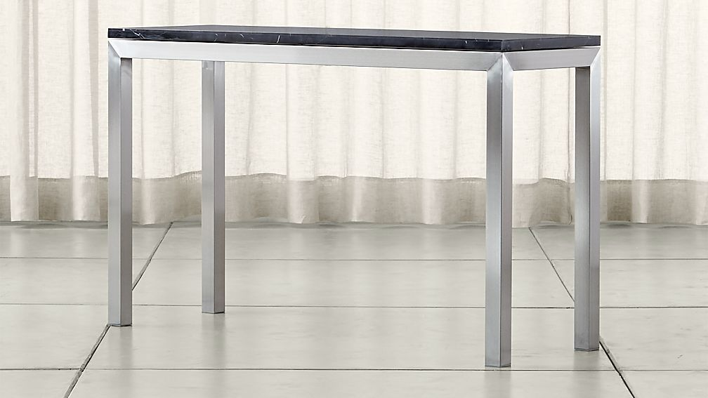 Parsons Black Marble Top/ Stainless Steel Base 48x16 Console - Image 1 of 5