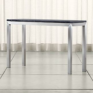 Parsons Stainless Steel Console Table with Black Marble Top