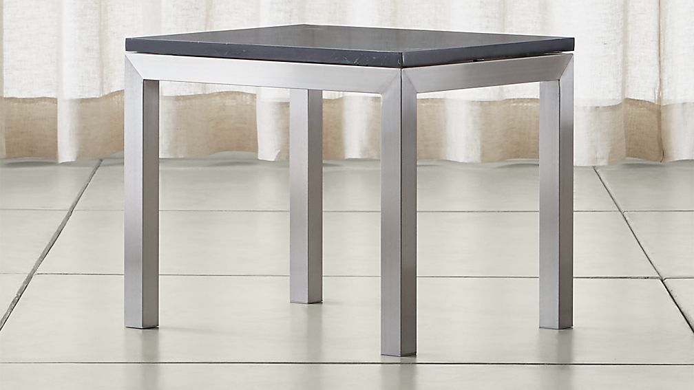 Parsons Black Marble Top/ Stainless Steel Base 20x24 End Table - Image 1 of 5