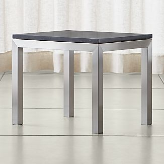 parsons black marble top stainless steel base 20x24 end table
