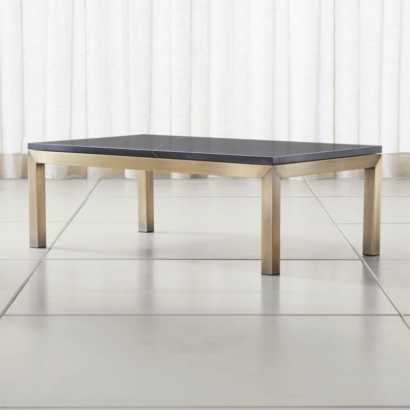 Crate And Barrel Black Marble Coffee Table: Parsons Black Marble Top/ Brass Base 48x28 Small