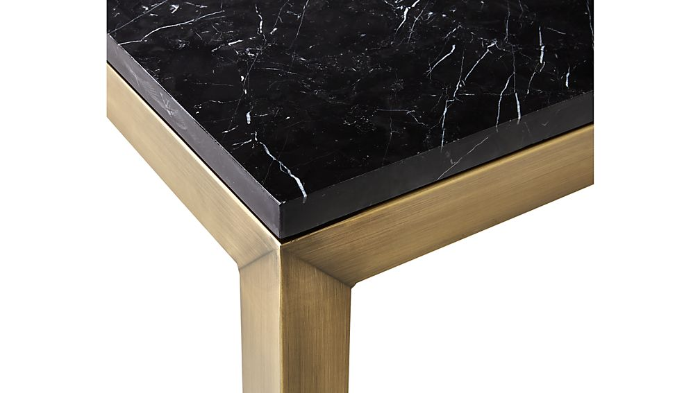 Parsons Black Marble Top/ Brass Base 48x28 Small Rectangular Coffee Table