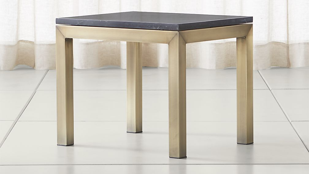 Parsons Black Marble Top/ Brass Base 20x24 End Table - Image 1 of 6