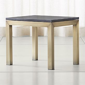 parsons black marble top brass base 20x24 end table