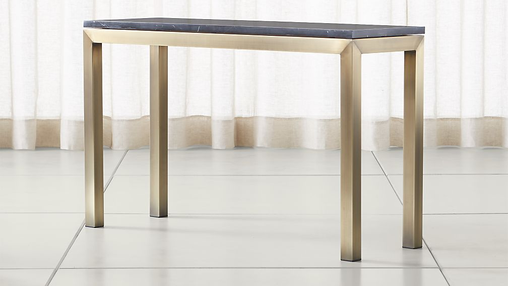 Parsons Black Marble Top/ Brass Base 48x16 Console - Image 1 of 5