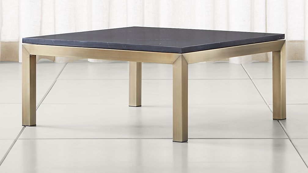 Parsons Black Marble Top/ Brass Base 36x36 Square Coffee Table + ...