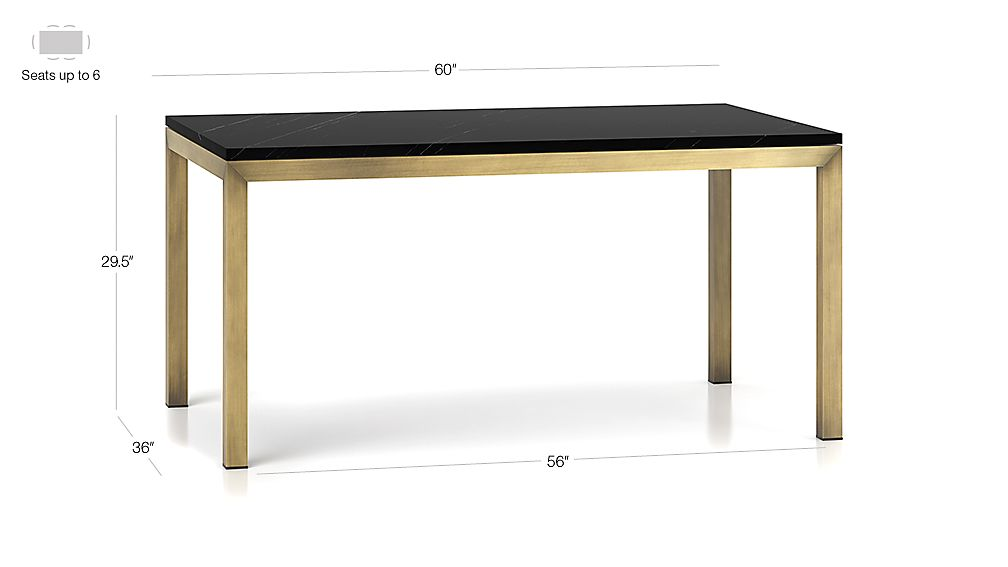 TAP TO ZOOM Image With Dimension For Parsons Black Marble Top Brass Base 60x36 Dining Table