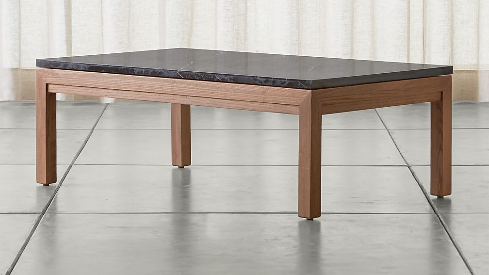 Parsons Black Marble Top/ Elm Base 48x28 Small Rectangular Coffee Table - Image 1 of 5