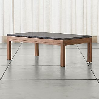 Parsons Black Marble Top/ Elm Base 48x28 Small Rectangular Coffee Table