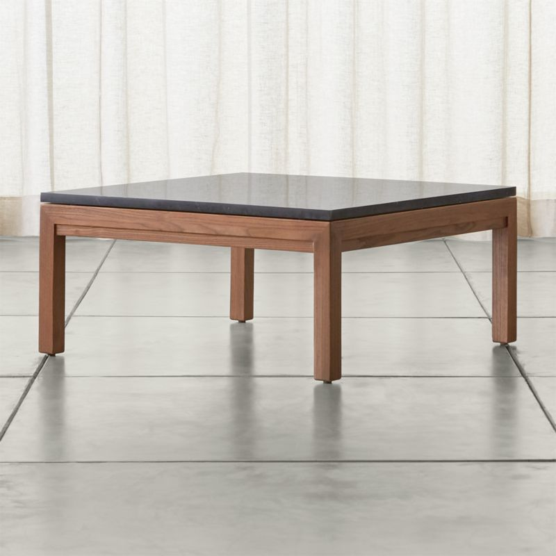 Parsons Black Marble Top Elm Base 36x36 Square Coffee Table Crate And Barrel