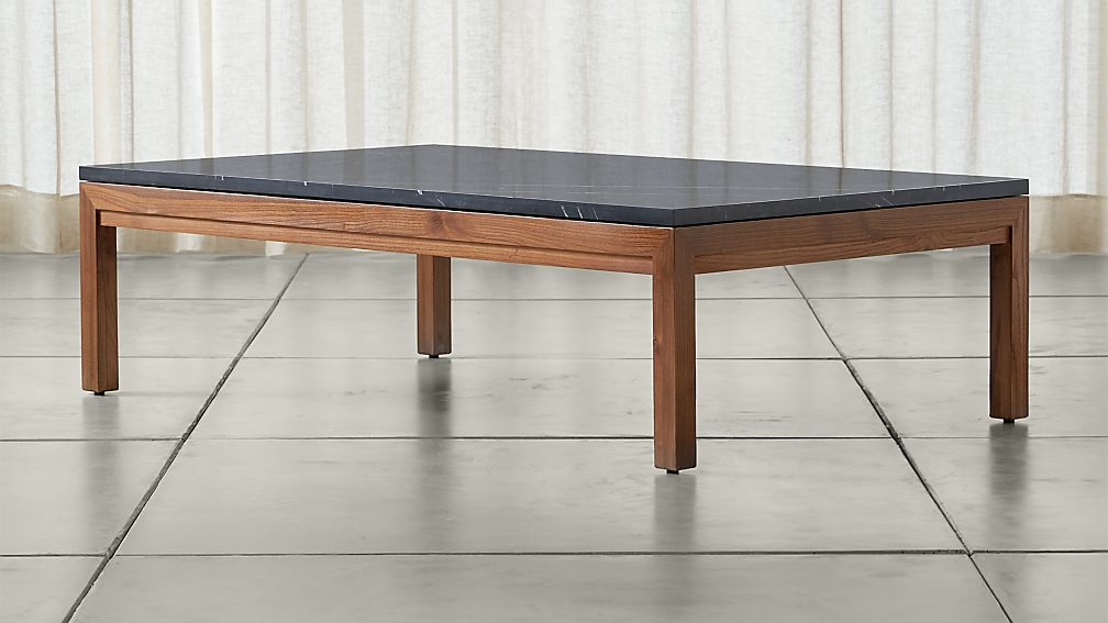 Parsons Black Marble Top/ Elm Base 60x36 Large Rectangular Coffee Table - Image 1 of 5