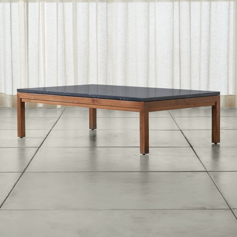 Crate And Barrel Black Marble Coffee Table: Parsons Black Marble Top/ Elm Base 60x36 Large Rectangular