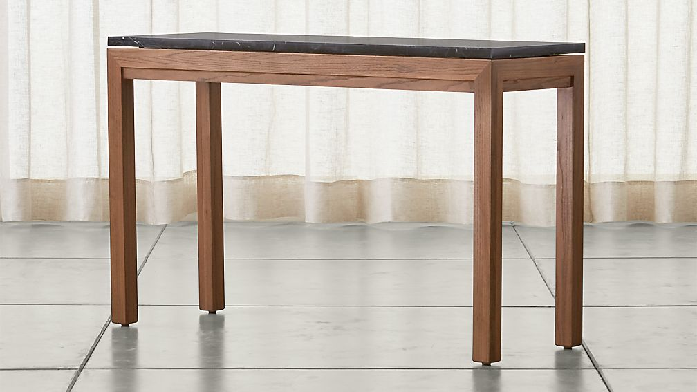 Parsons Black Marble Top/ Elm Base 48x16 Console - Image 1 of 5