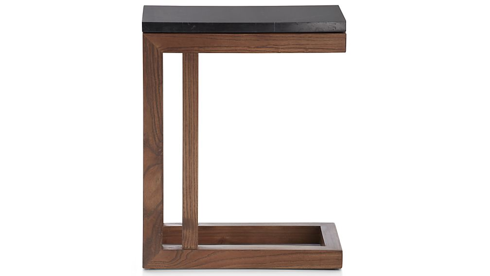Parsons Black Marble Top/ Elm Base 20x12 C Table