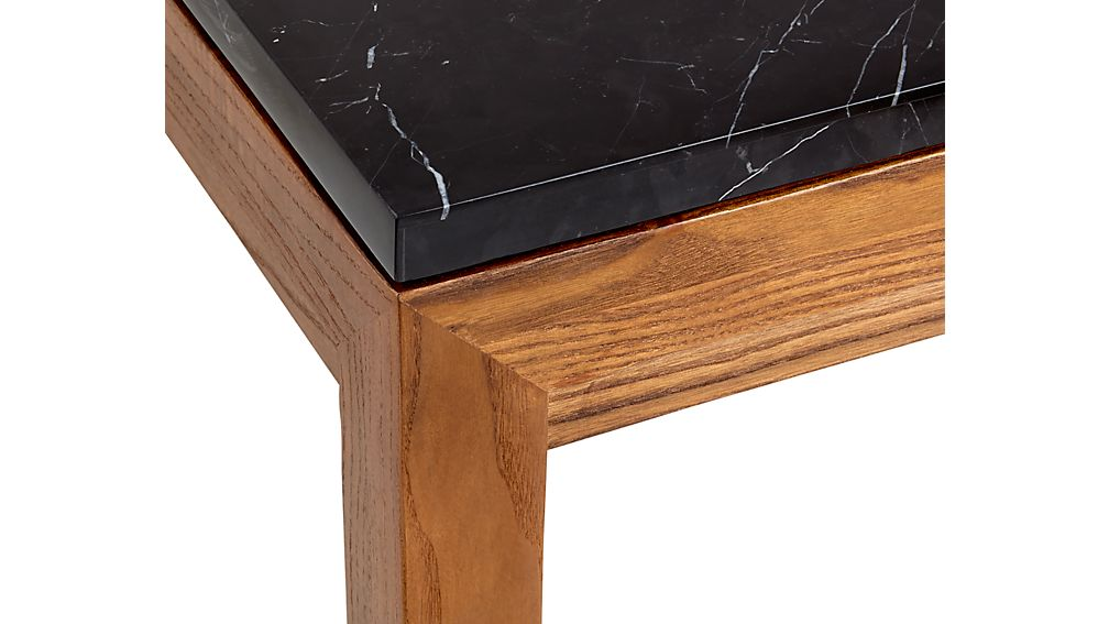 Parsons Black Marble Top/ Elm Base 60x36 Large Rectangular Coffee Table