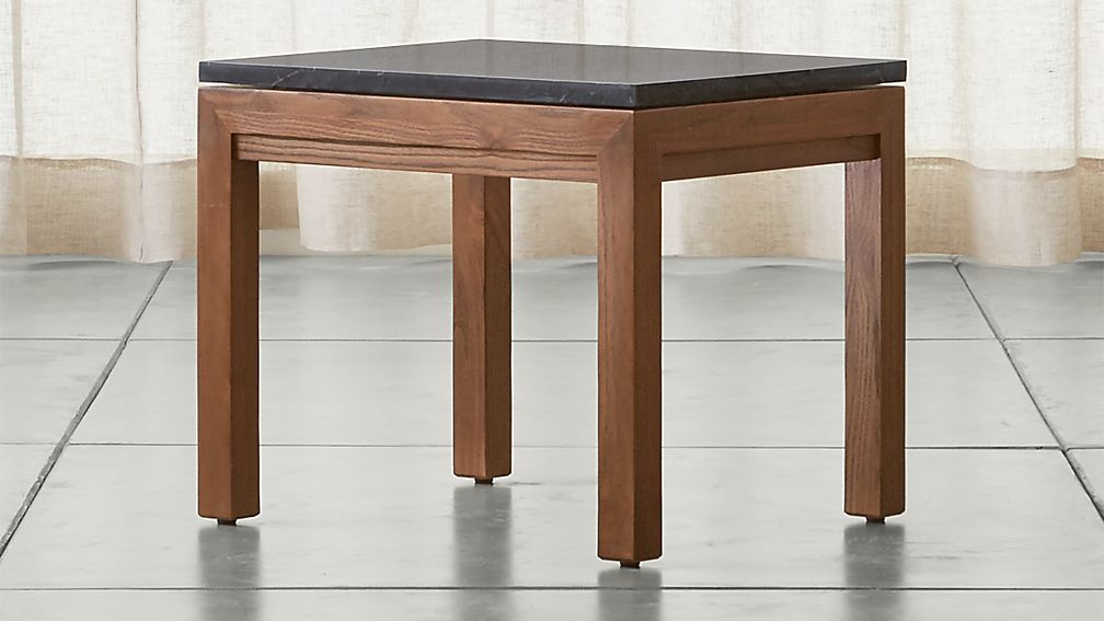 Parsons Black Marble Top/ Elm Base 20x24 End Table - Image 1 of 5