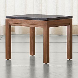 parsons black marble top elm base 20x24 end table