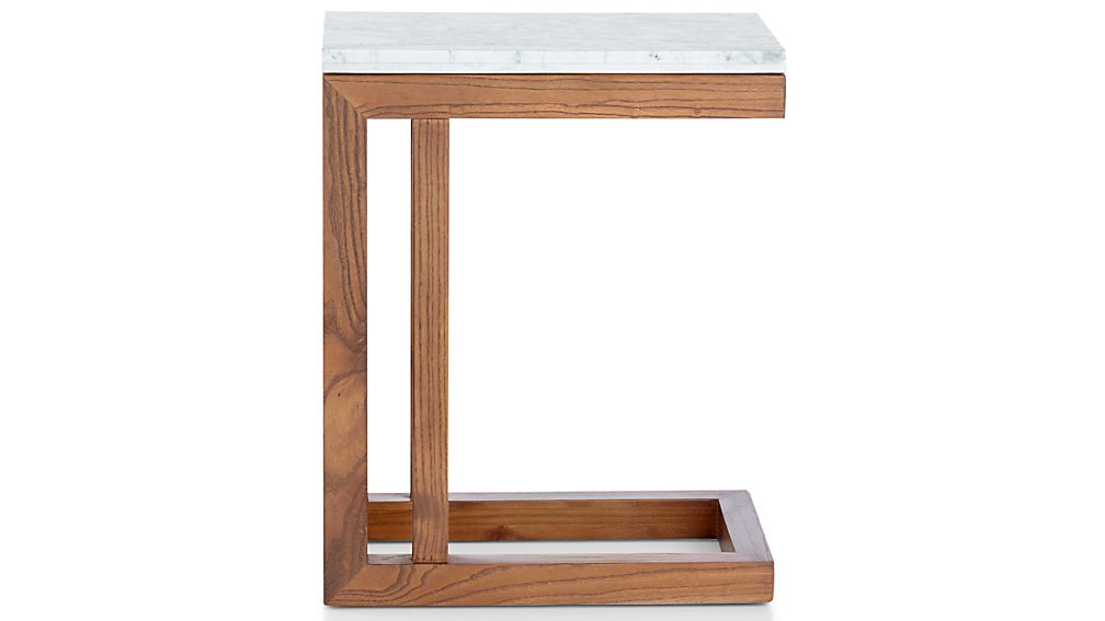 Parsons White Marble Top/ Elm Base 20x12 C Table