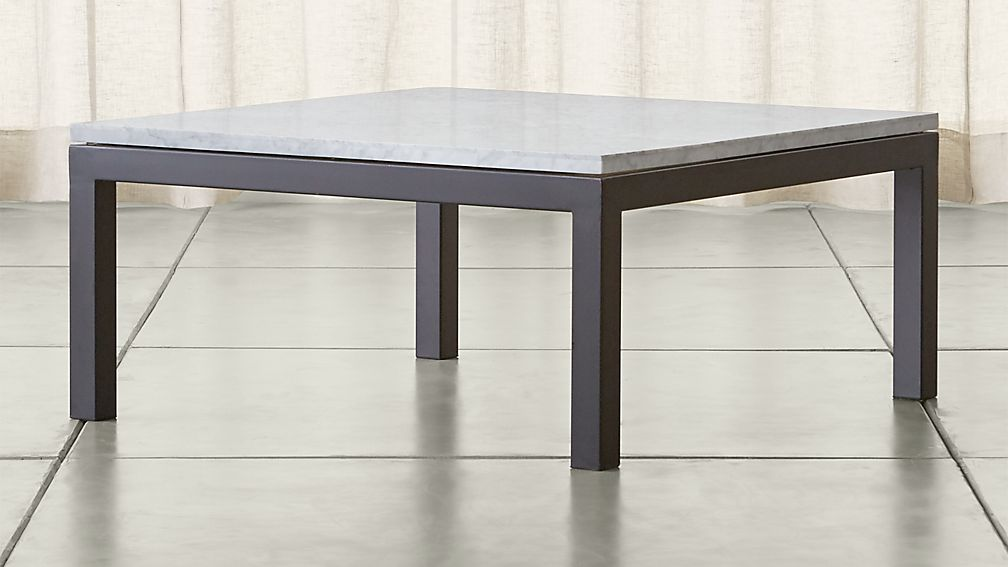 Parsons White Marble Top Dark Steel Base 36x36 Square Coffee