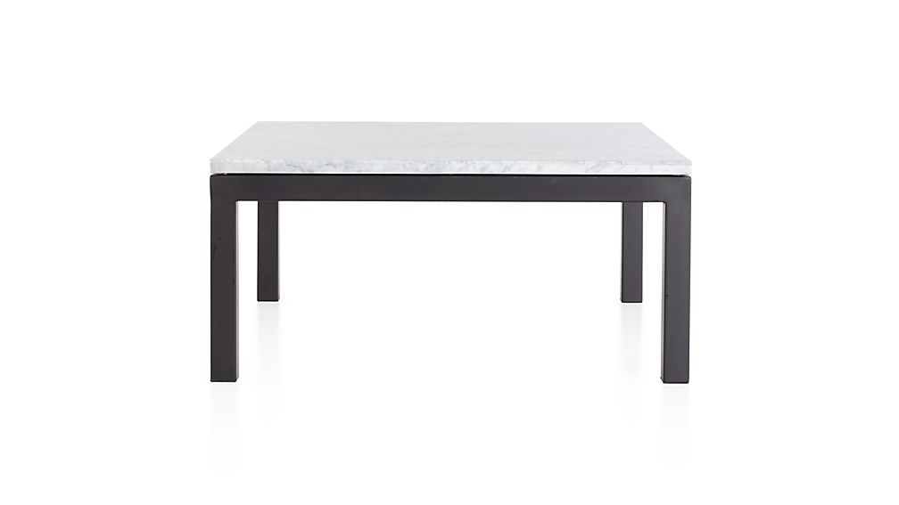 Parsons White Marble Top/ Dark Steel Base 36x36 Square Coffee Table