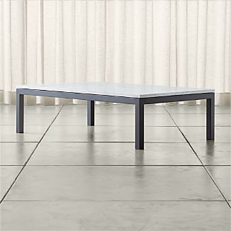Parsons Large Rectangular Dark Steel Coffee Table with White Marble Top