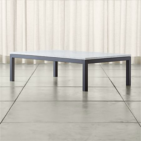 Parsons White Marble Top Dark Steel Base 60x36 Large