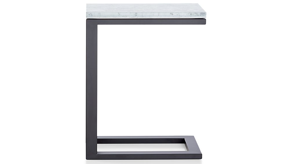Parsons White Marble Top/ Dark Steel Base 20x12 C Table