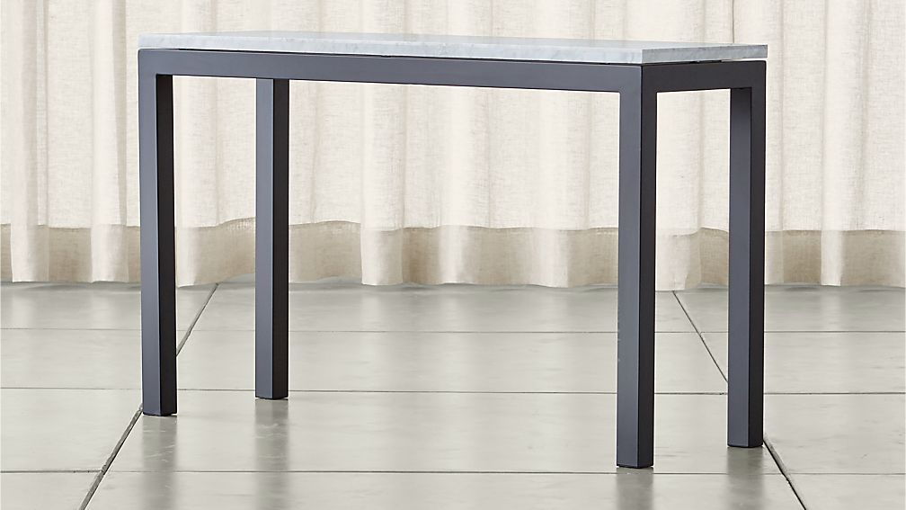 Charming Parsons White Marble Top/ Dark Steel Base 48x16 Console ...