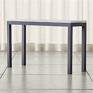 Parsons Dark Steel Console Table with White Marble Top
