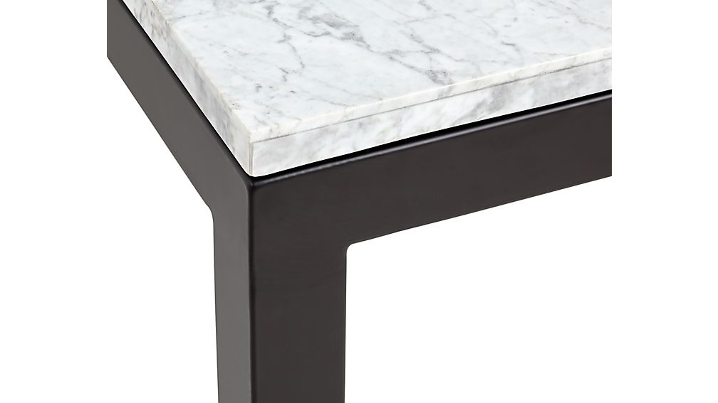 Parsons White Marble Top/ Dark Steel Base 48x28 Small Rectangular Coffee Table