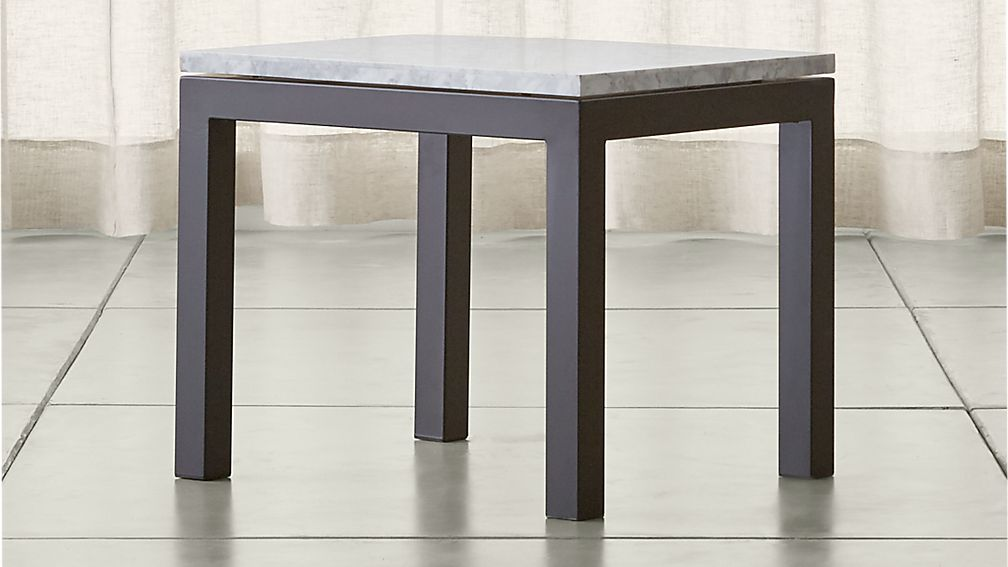 Parsons White Marble Top Dark Steel Base 20x24 End Table