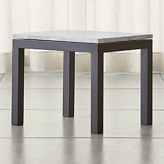 Parsons White Marble Top/ Dark Steel Base 20x24 End Table