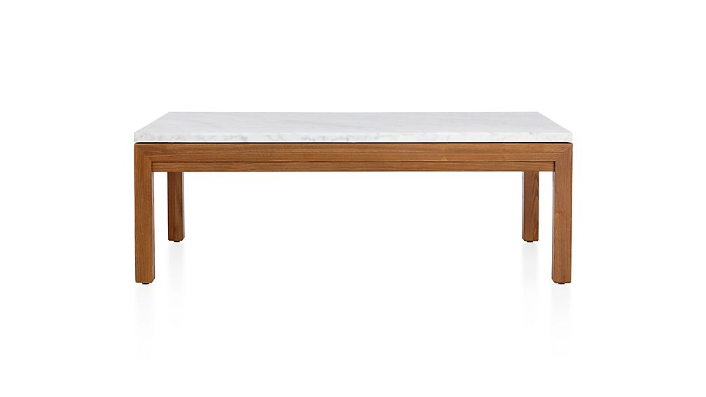 Parsons White Marble Top/ Elm Base 48x28 Small Rectangular Coffee Table