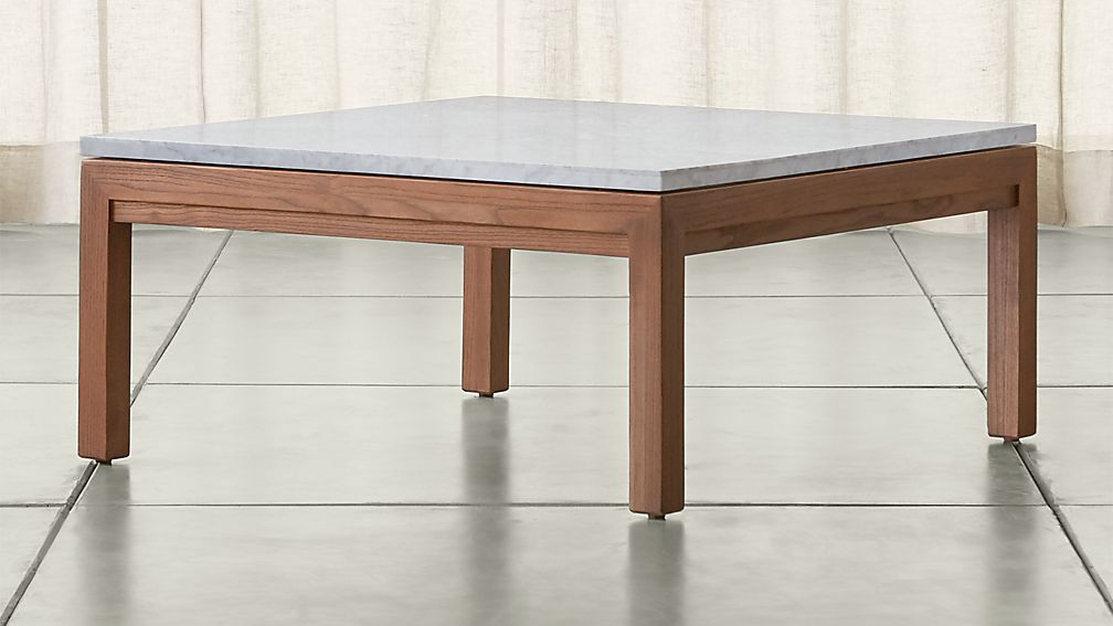 Parsons White Marble Top Elm Base 36x36 Square Coffee Table Reviews Crate And Barrel