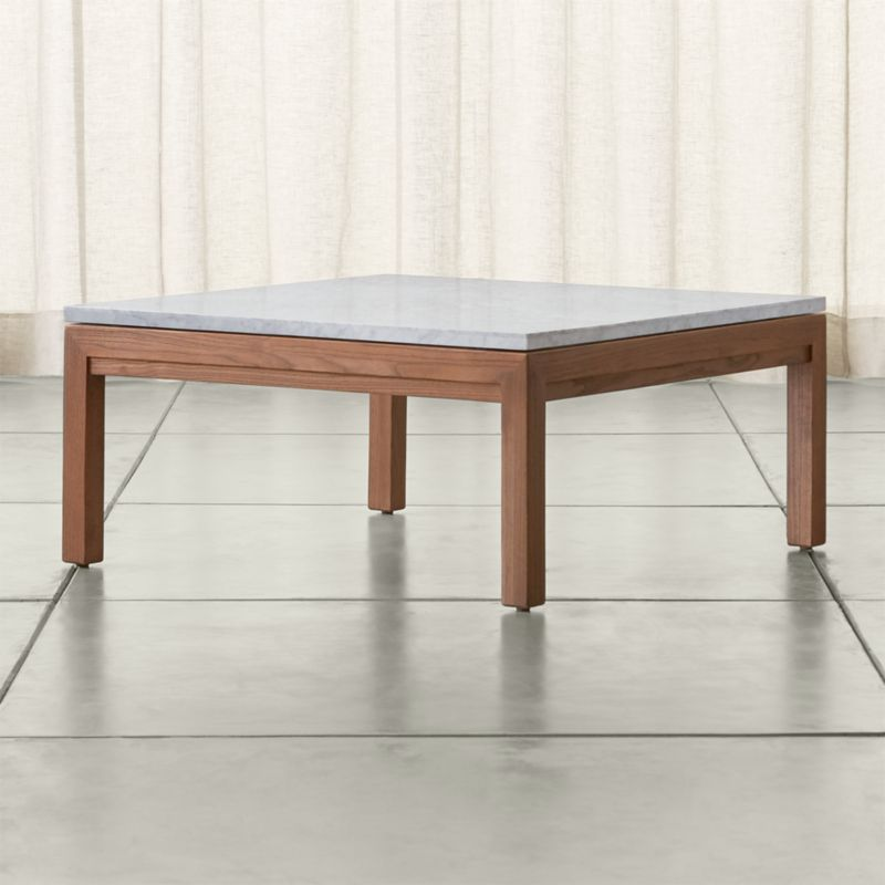 Parsons White Marble Top Elm Base X Square Coffee Table - Rectangle white marble coffee table