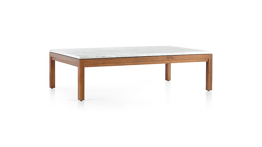 Parsons White Marble Top/ Elm Base 60x36 Large Rectangular Coffee Table