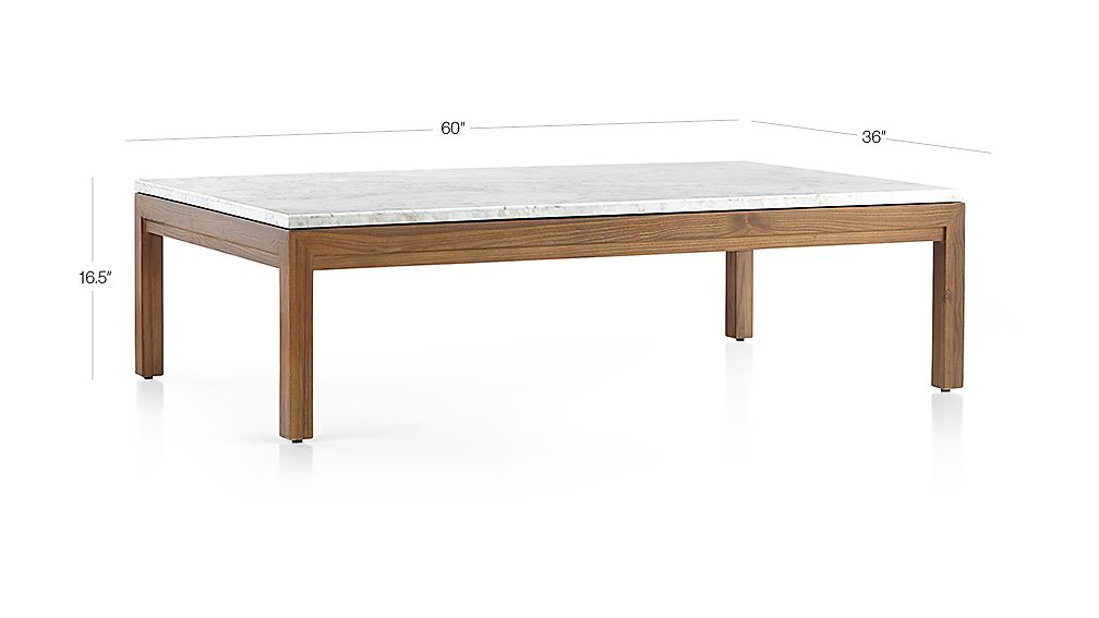 Parsons White Marble Top Elm Base 60x36 Large Rectangular Coffee Table Crate And Barrel