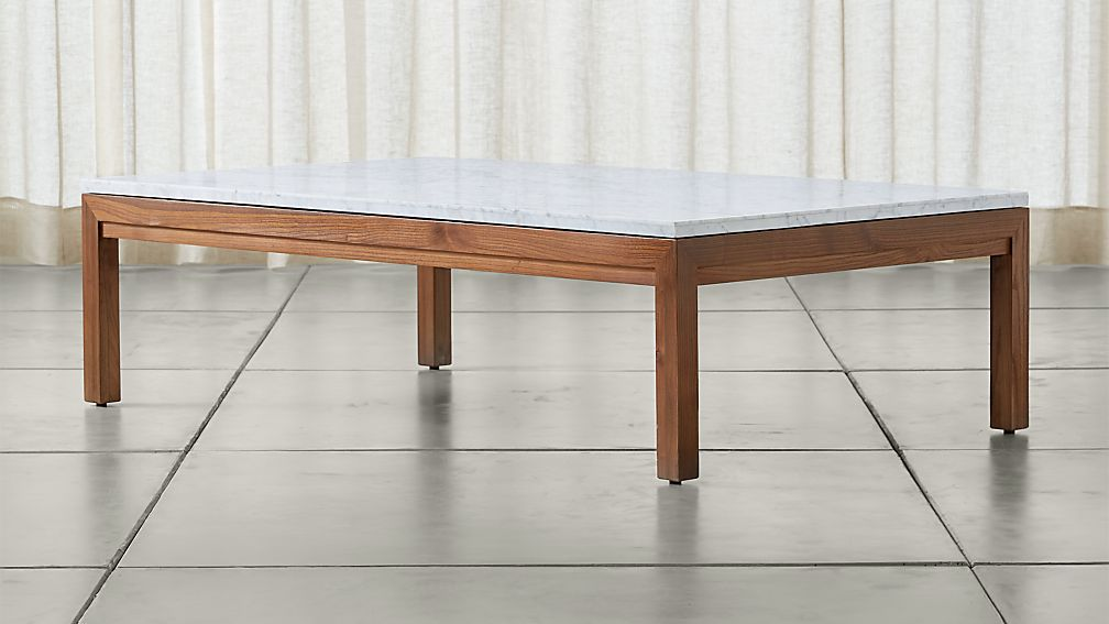 Parsons White Marble Top/ Elm Base 60x36 Large Rectangular Coffee Table - Image 1 of 4
