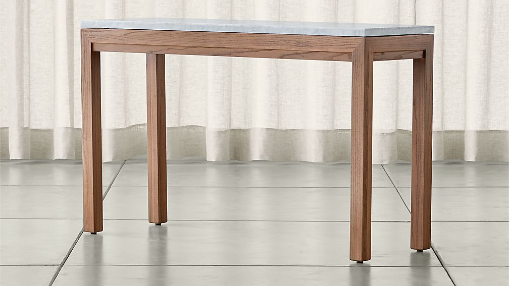 Parsons White Marble Top Elm Base 48x16 Console Reviews Crate