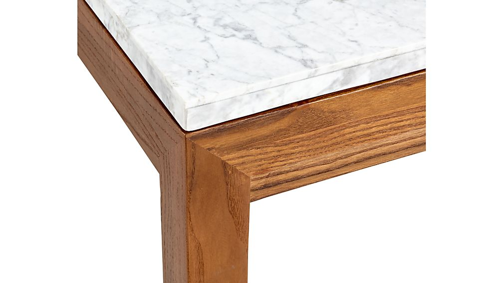 Parsons White Marble Top/ Elm Base 48x16 Console