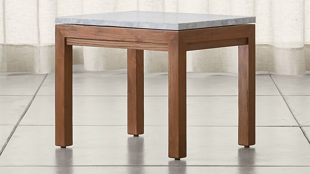Parsons White Marble Top/ Elm Base 20x24 End Table - Image 1 of 4