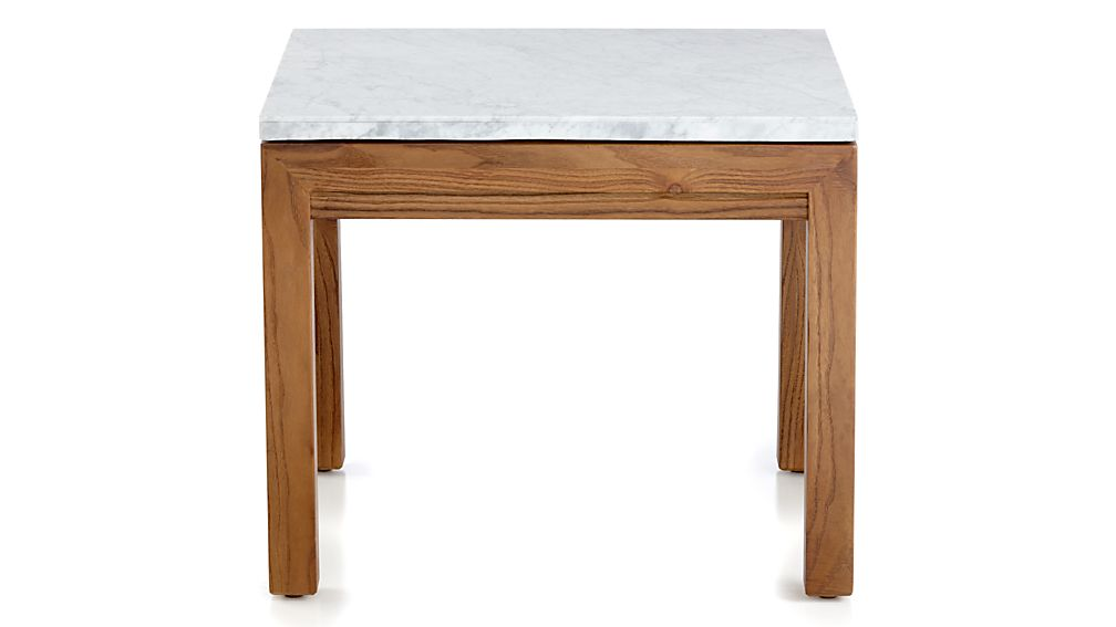 Parsons White Marble Top/ Elm Base 20x24 End Table