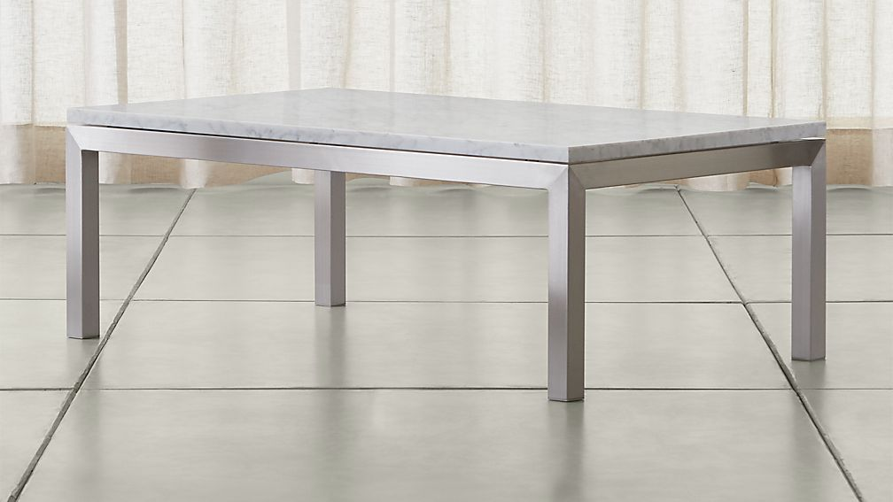 Parsons small rectangular stainless steel coffee table for Marble top coffee table rectangle