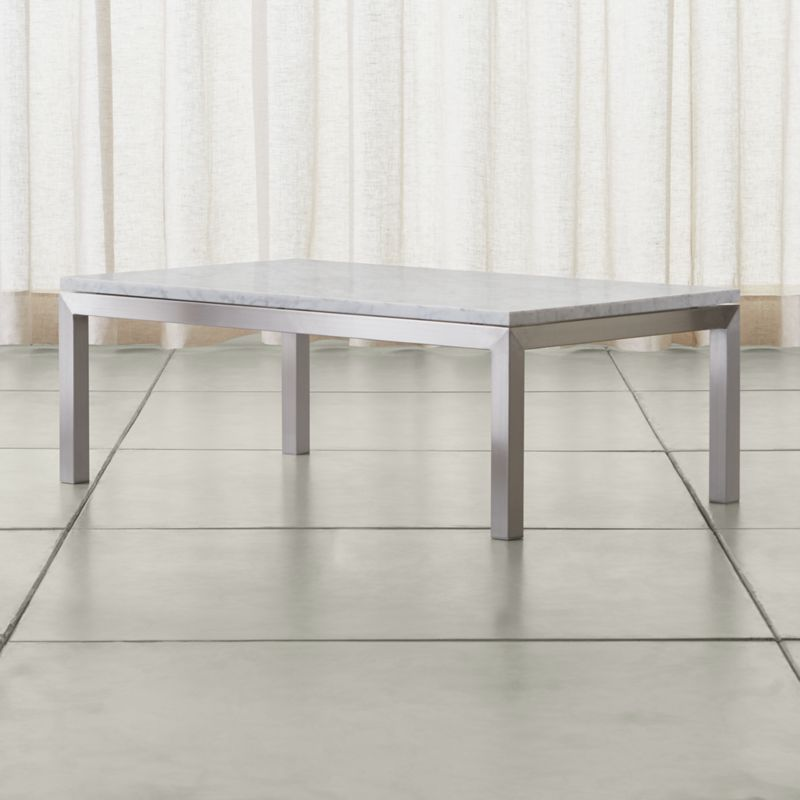 Parsons White Marble Top/ Stainless Steel Base 48x28 Small Rectangular Coffee  Table + Reviews | Crate And Barrel