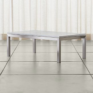 Parsons White Marble Top/ Stainless Steel Base 48x28 Small Rectangular Coffee Table