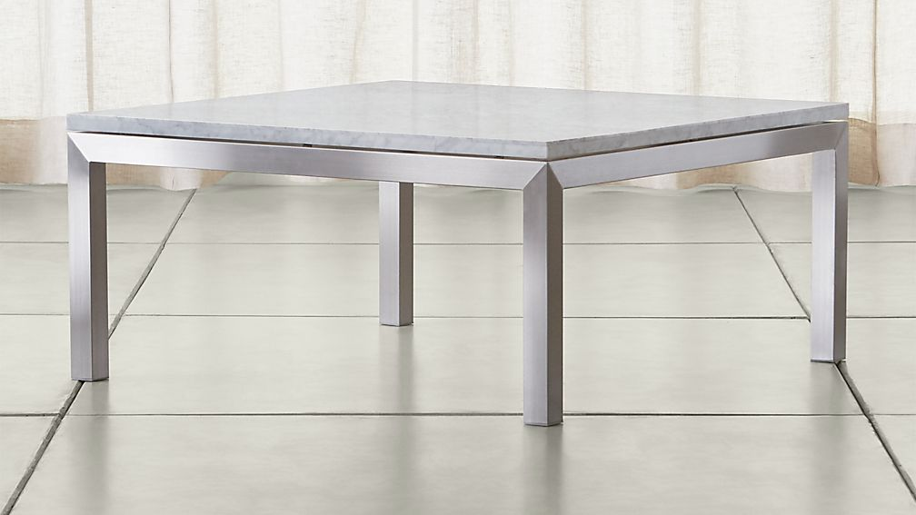 Parsons White Marble Top Stainless Steel Base 36x36 Square Coffee Table Reviews Crate And Barrel