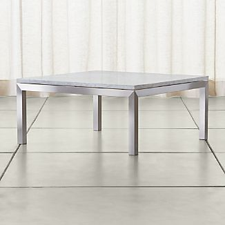 Parsons White Marble Top/ Stainless Steel Base 36x36 Square Coffee Table