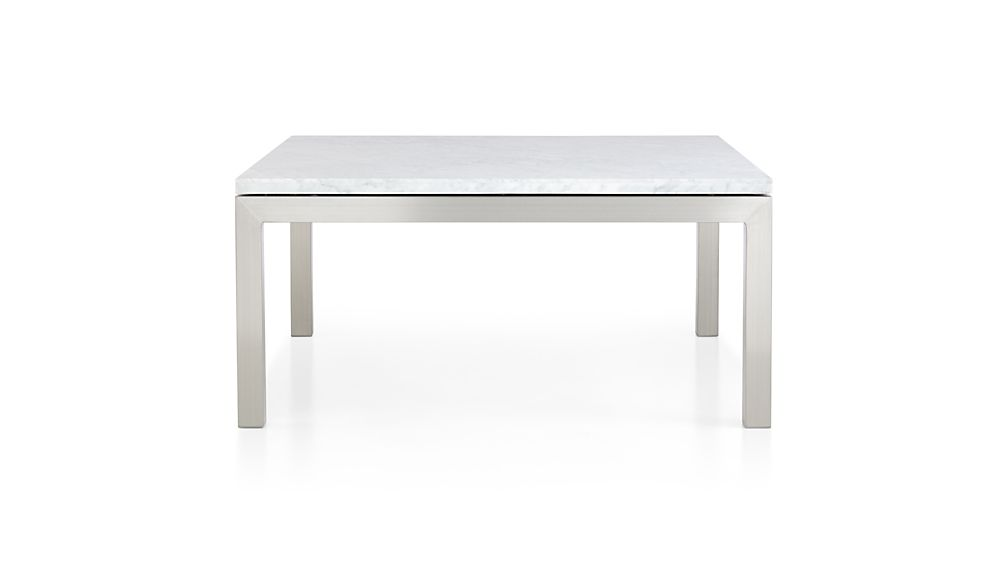 Parsons White Marble Top Stainless Steel Base 36x36 Square Coffee Table Crate And Barrel