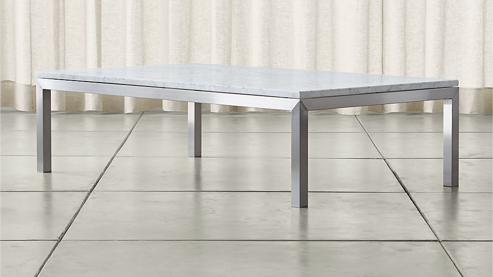 Parsons White Marble Top Stainless Steel Base X Large - Rectangle white marble coffee table