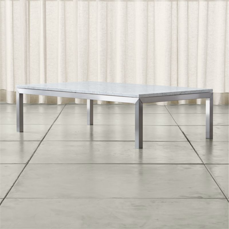 White Marble Top Coffee Table Rectangle: Parsons White Marble Top/ Stainless Steel Base 60x36 Large